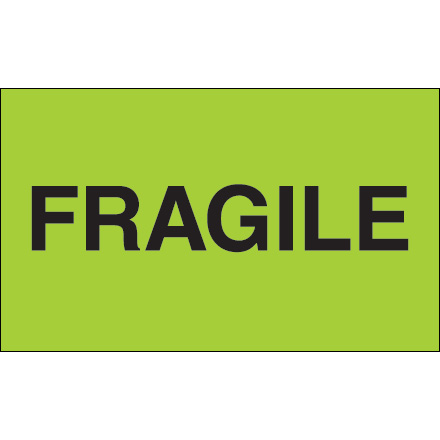 "3 x 5"" - ""Fragile"" (Fluorescent Green) Labels"